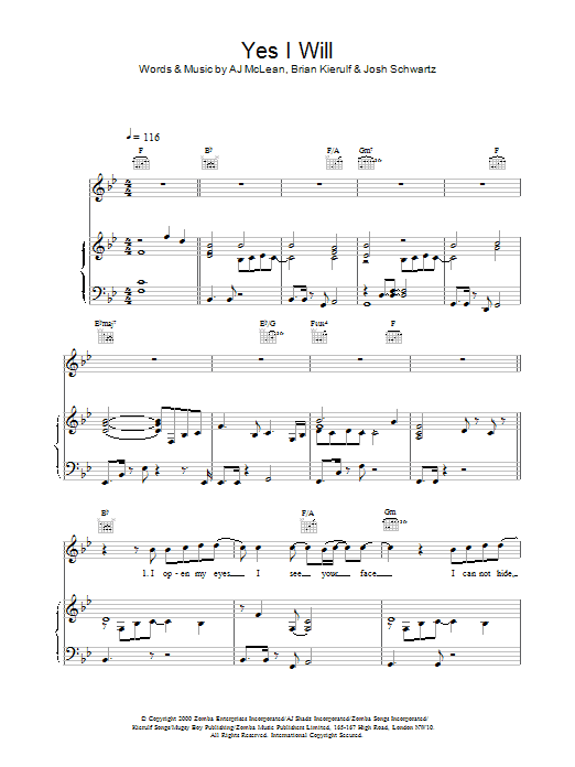 Yes I Will sheet music