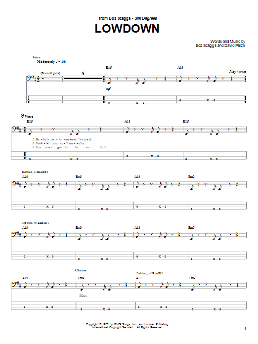 Lowdown sheet music