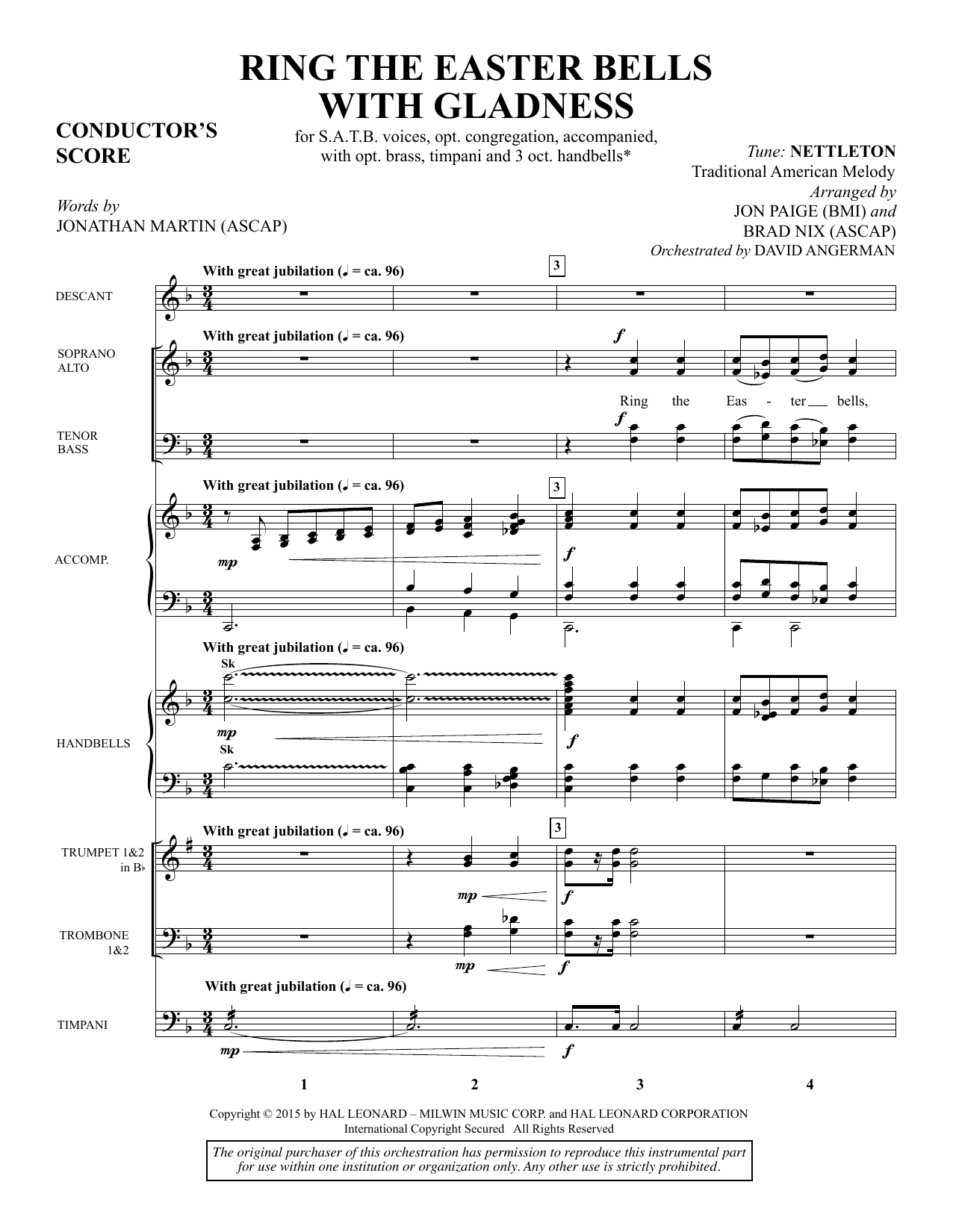 Ring the Easter Bells with Gladness - Full Score sheet music
