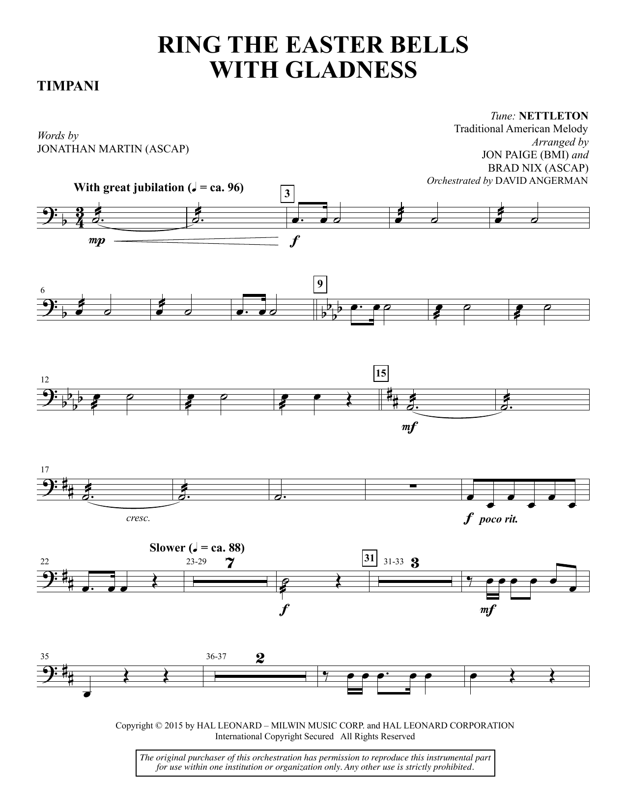 Ring the Easter Bells with Gladness - Timpani sheet music
