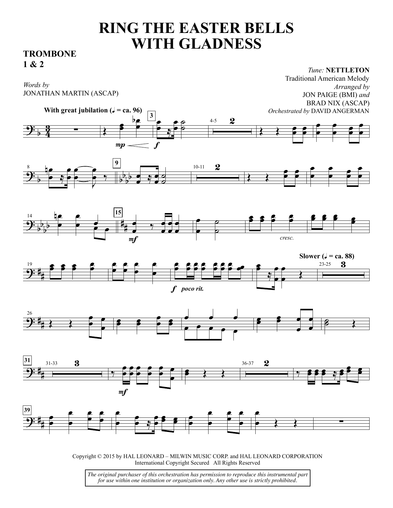 Ring the Easter Bells with Gladness - Trombone 1 & 2 sheet music