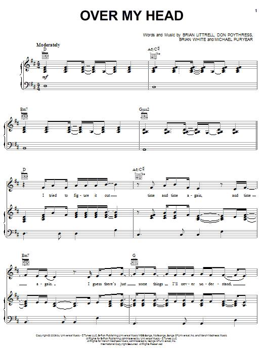 Over My Head sheet music