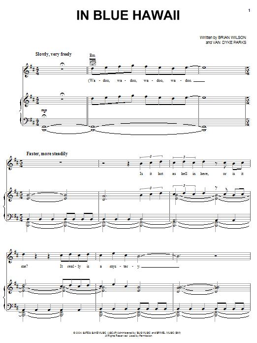 In Blue Hawaii sheet music