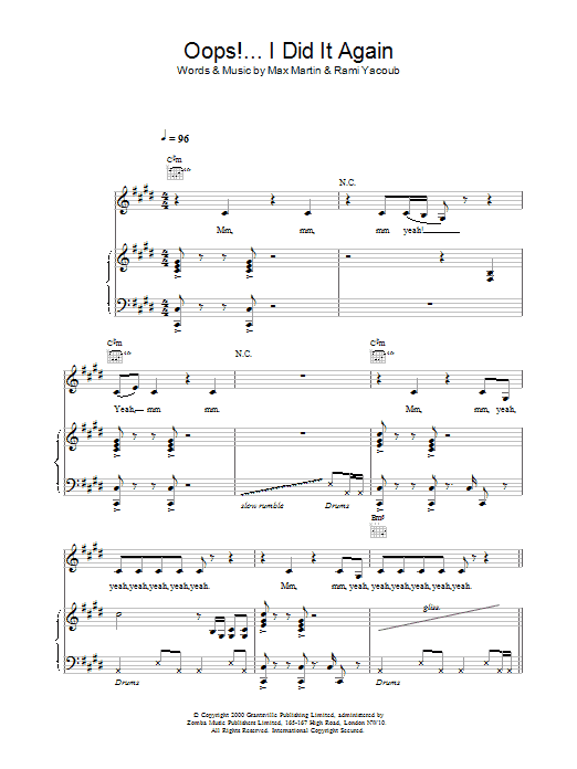 Oops! I Did It Again sheet music