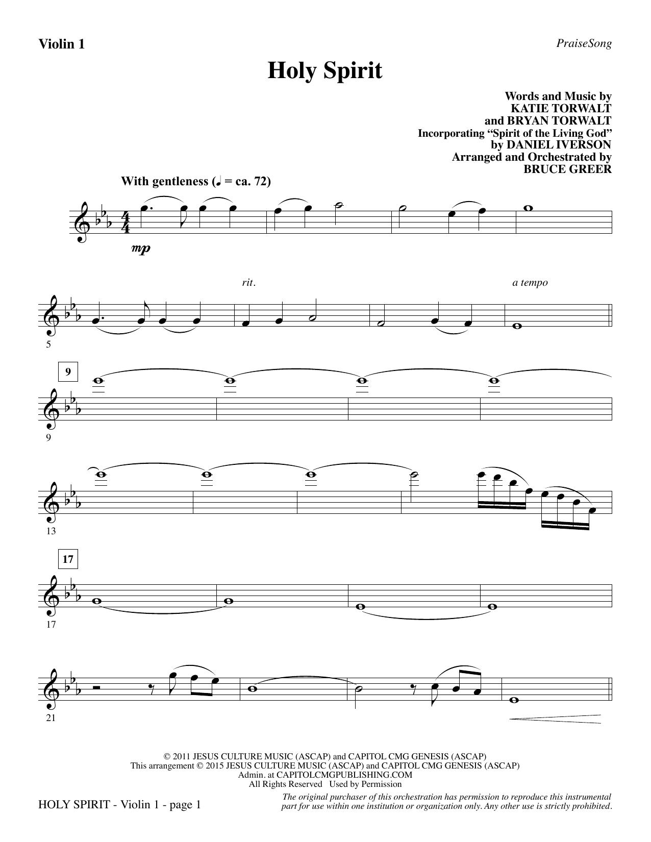 Holy Spirit - Violin 1 sheet music