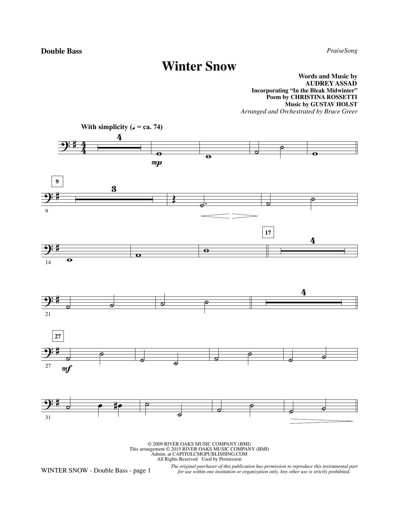 Winter Snow - Double Bass sheet music