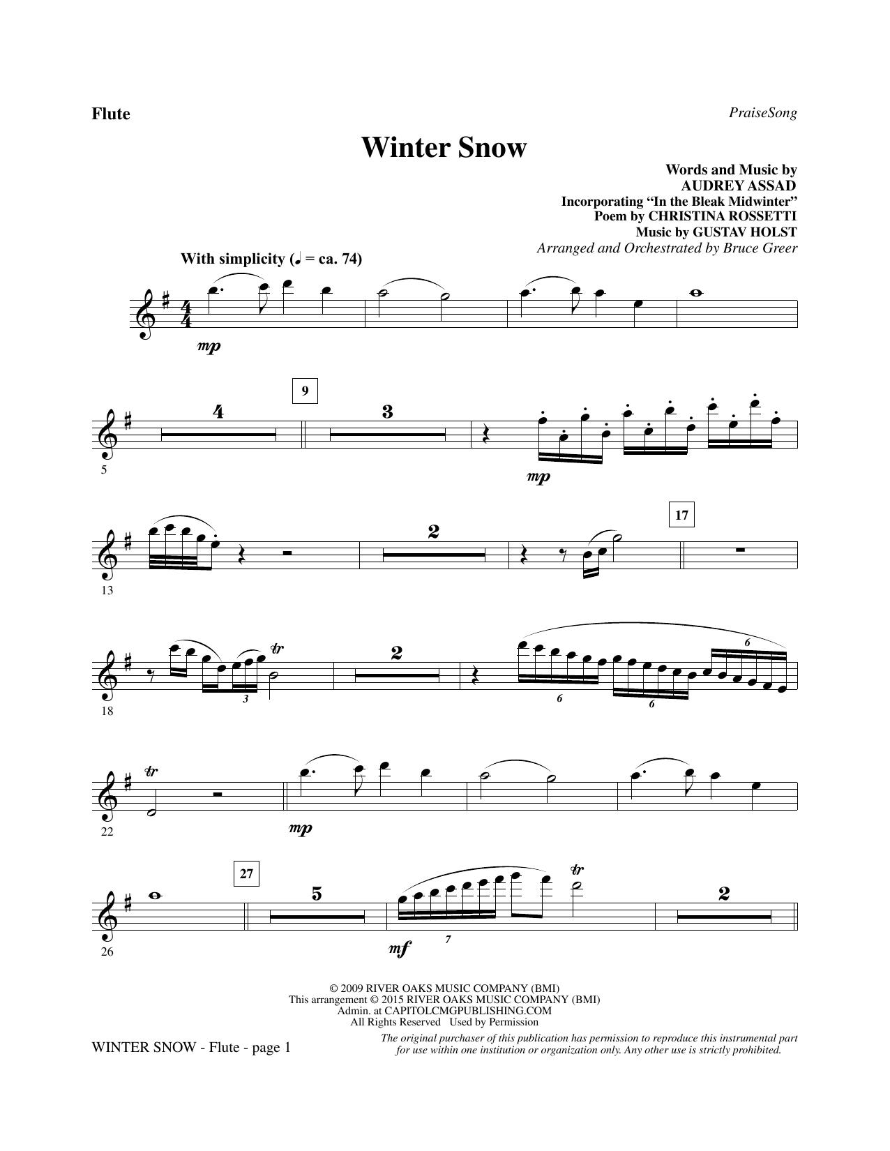 Winter Snow - Flute sheet music