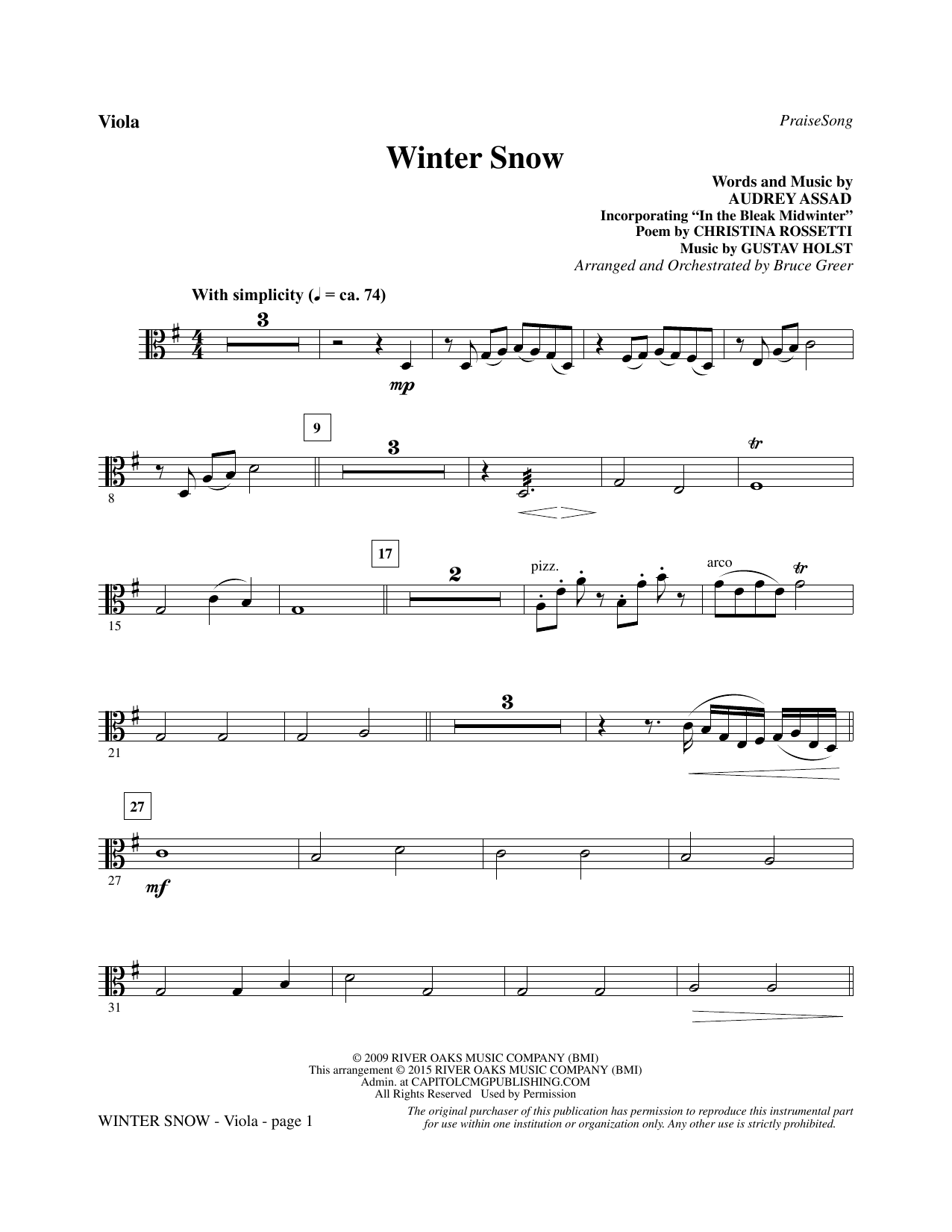Winter Snow - Viola sheet music