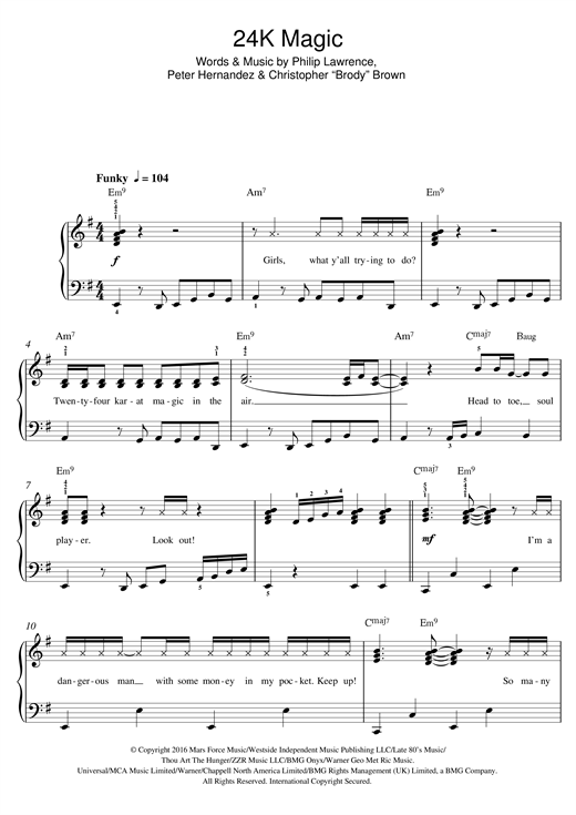 24K Magic sheet music