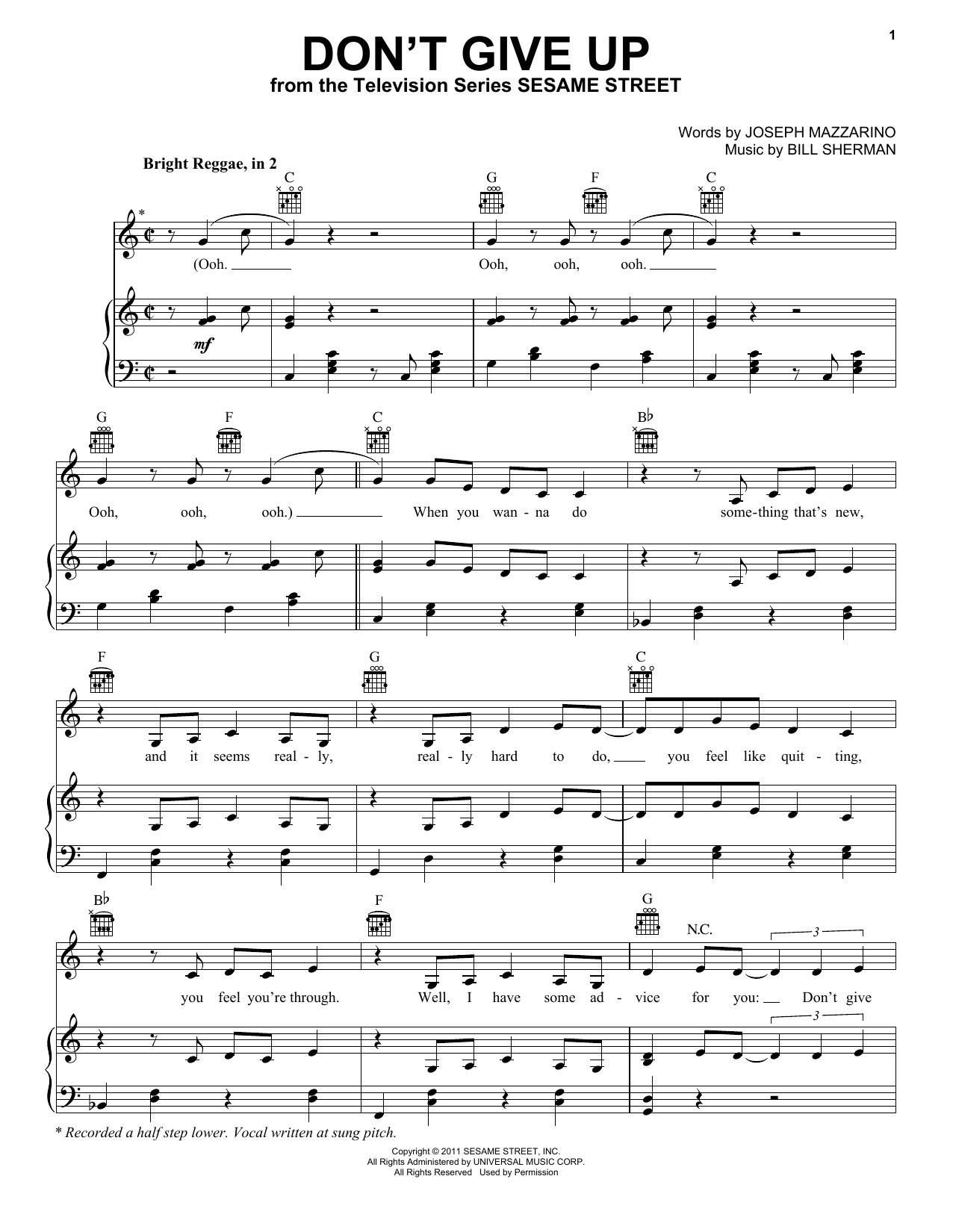 Don't Give Up (from Sesame Street) sheet music