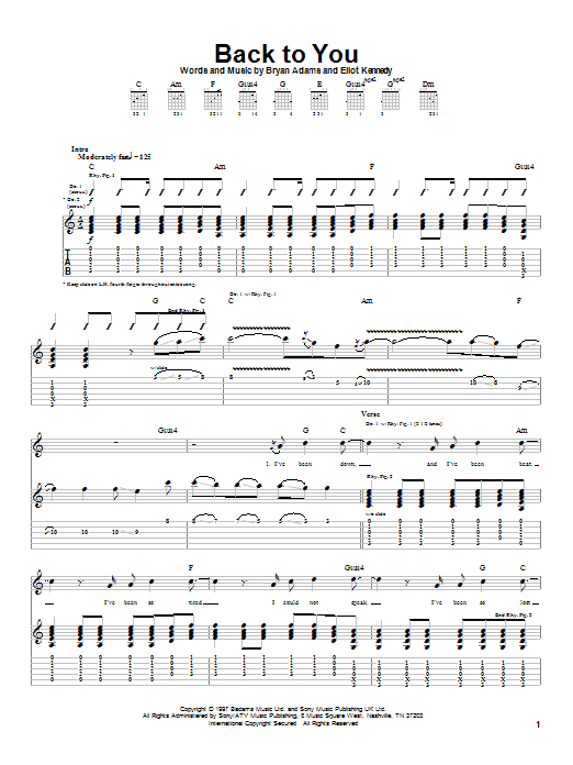 Back To You sheet music