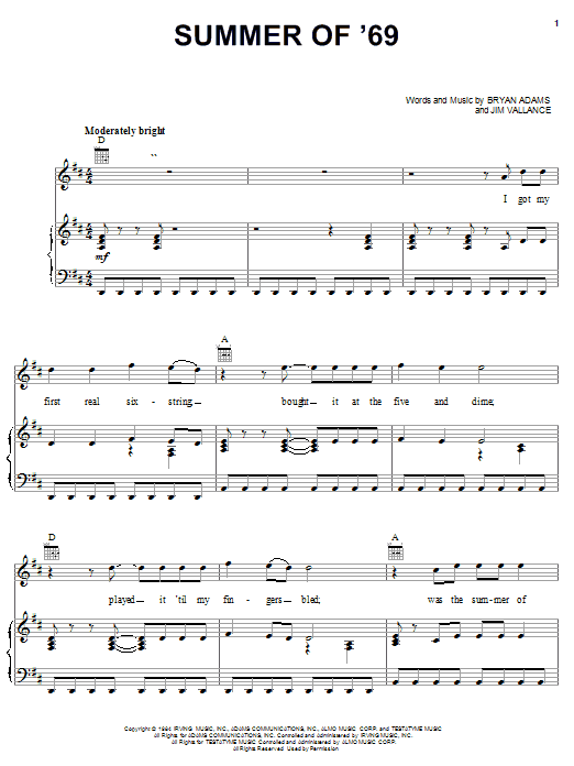Summer Of '69 sheet music