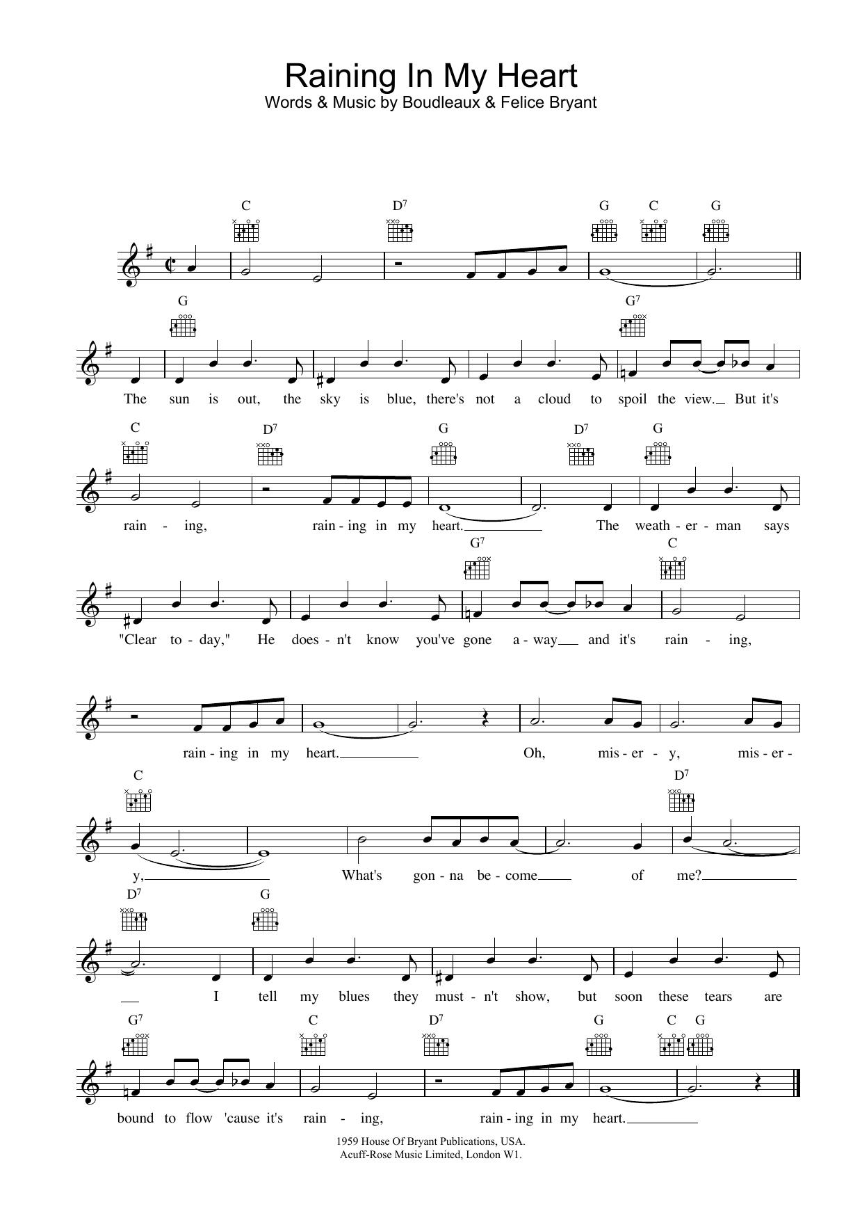 Raining In My Heart sheet music