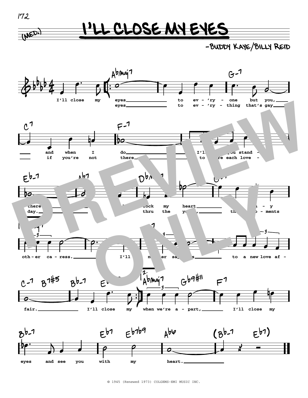 Buddy Kaye 'I'll Close My Eyes High Voice' Sheet Music Notes, Chords    Download Printable Real Book – Melody, Lyrics & Chords   SKU 15