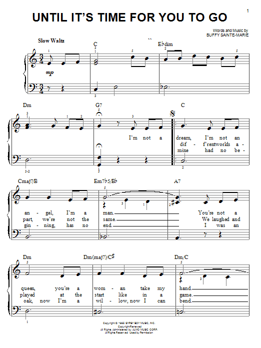 Until It's Time For You To Go sheet music