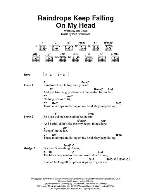 Raindrops Keep Falling On My Head sheet music