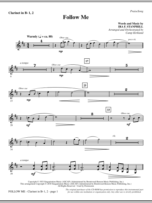 Follow Me - Clarinet 1 & 2 sheet music
