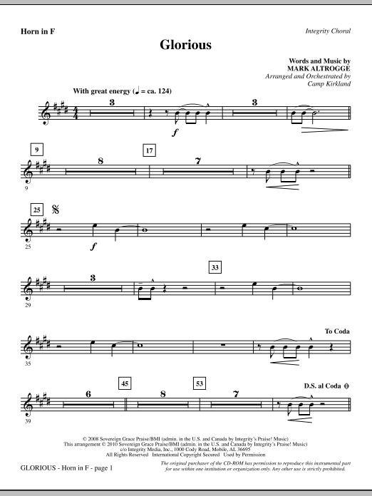Glorious - F Horn sheet music