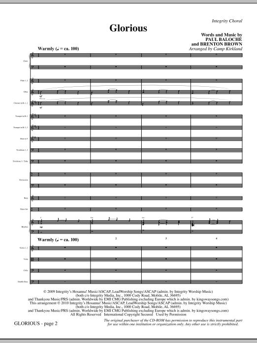 Glorious - Full Score sheet music