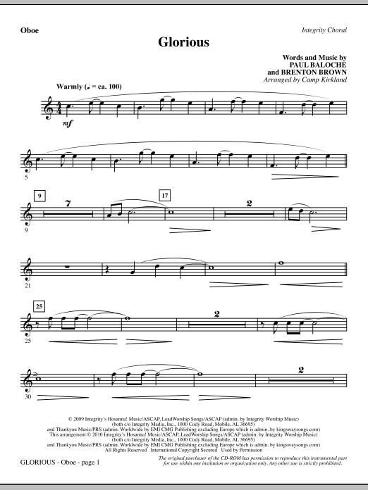 Glorious - Oboe sheet music