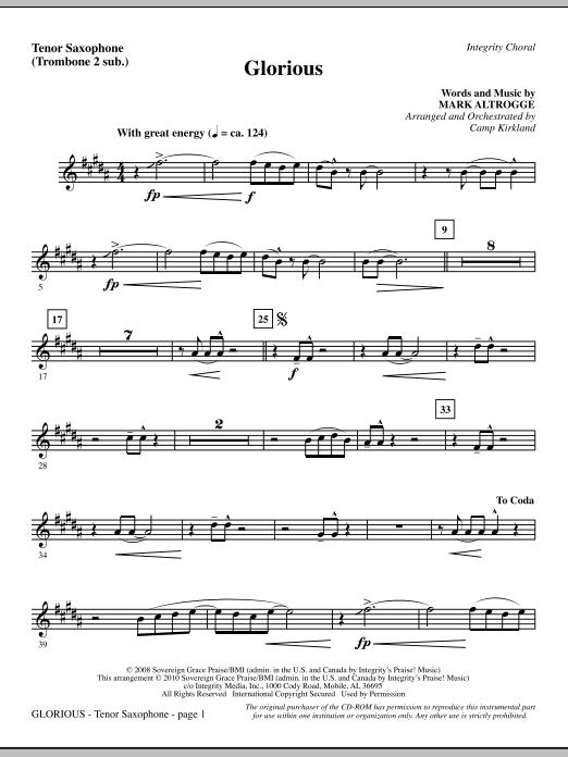 Glorious - Tenor Sax (sub. Tbn 2) sheet music