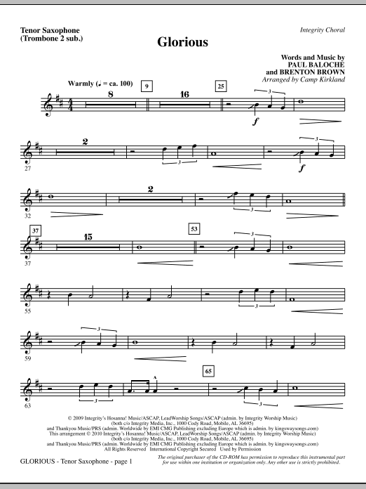 Glorious - Tenor Sax (Trombone 2 sub.) sheet music
