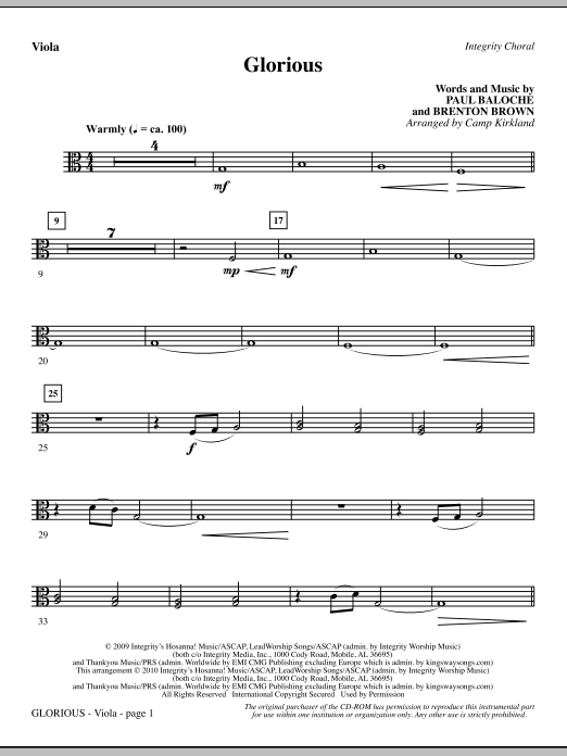 Glorious - Viola sheet music