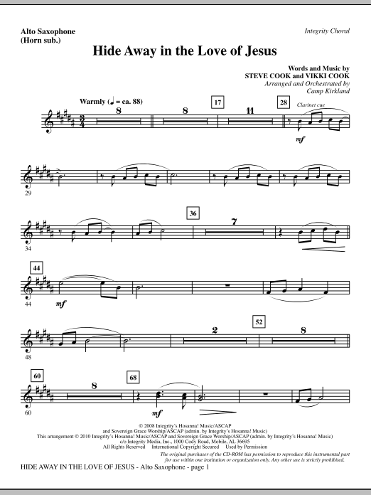 Hide Away In The Love Of Jesus - Alto Sax (sub. Horn) sheet music