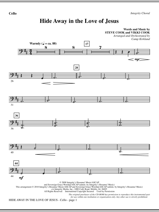 Hide Away In The Love Of Jesus - Cello sheet music