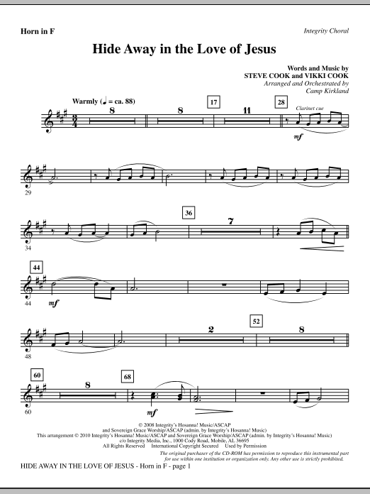 Hide Away In The Love Of Jesus - Horn 1 & 2 sheet music