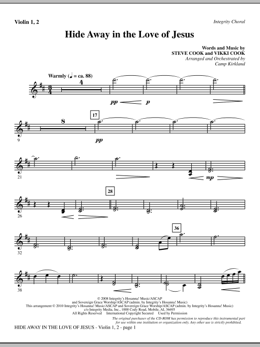 Hide Away In The Love Of Jesus - Violin 1, 2 sheet music