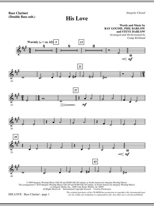 His Love - Bass Clarinet (sub. dbl bass) sheet music