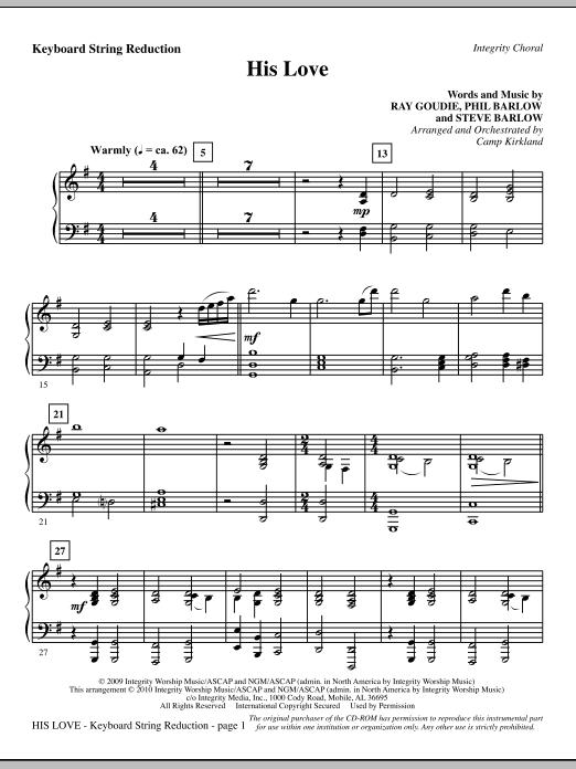 His Love - Keyboard String Reduction sheet music