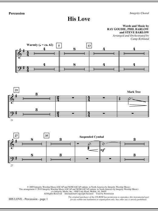 His Love - Percussion sheet music