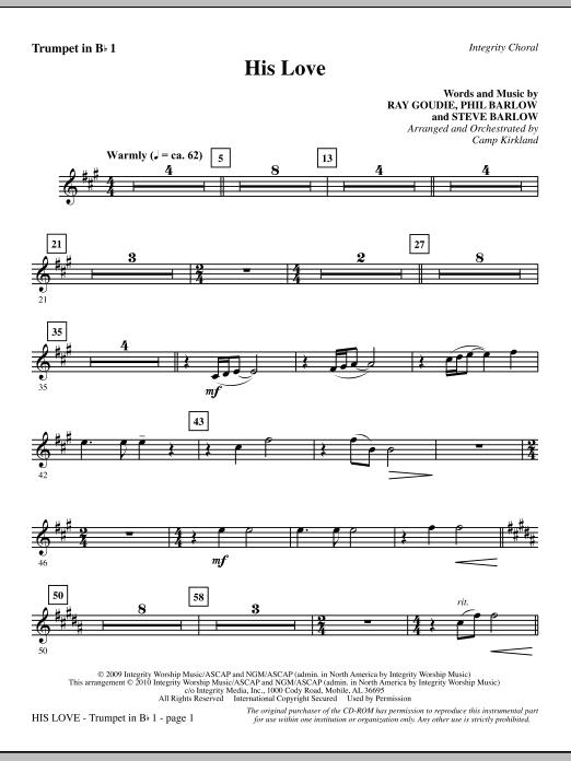 His Love - Trumpet 1 sheet music
