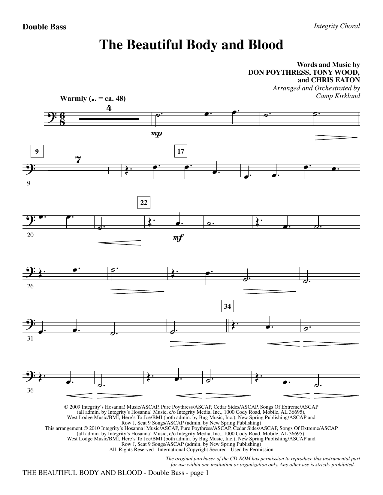 The Beautiful Body And Blood - Double Bass sheet music