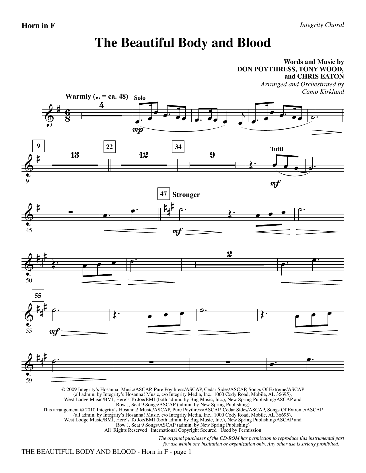 The Beautiful Body And Blood - F Horn sheet music