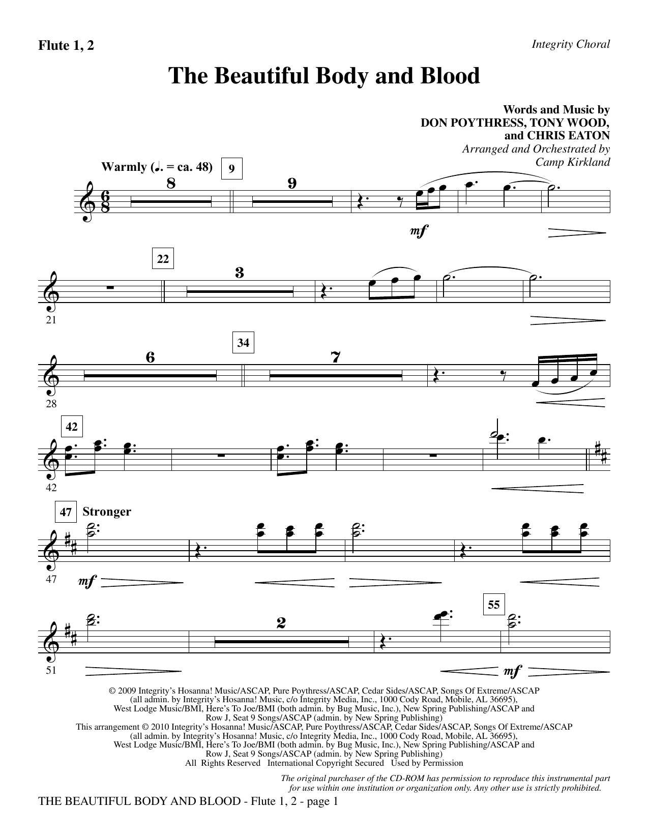 The Beautiful Body And Blood - Flute 1 & 2 sheet music