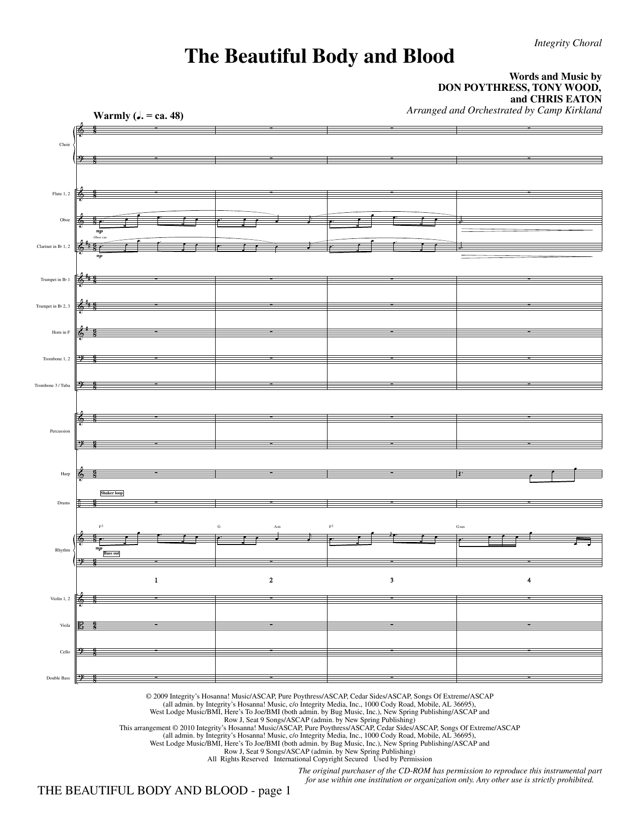 The Beautiful Body And Blood - Full Score sheet music