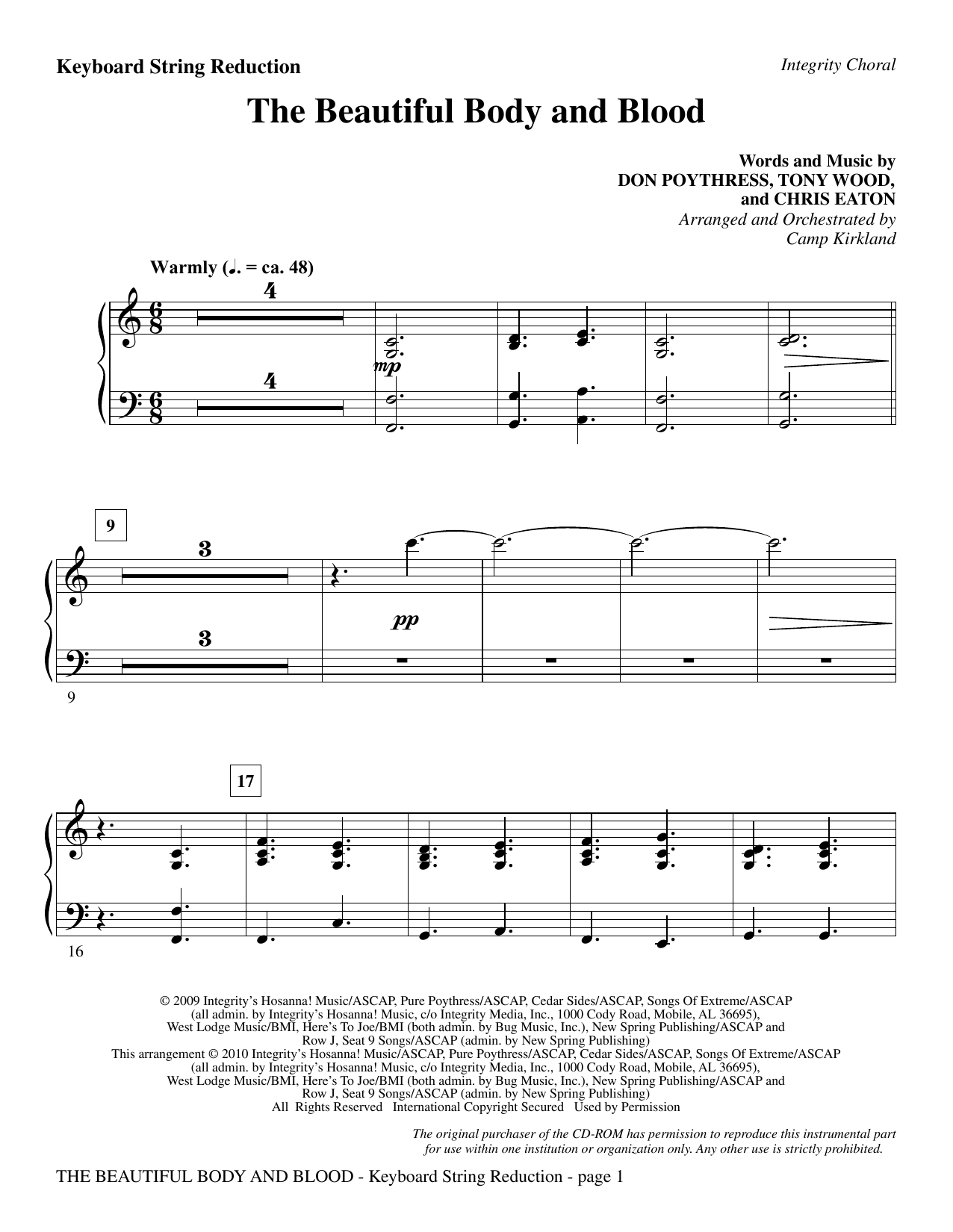 The Beautiful Body And Blood - Keyboard String Reduction sheet music