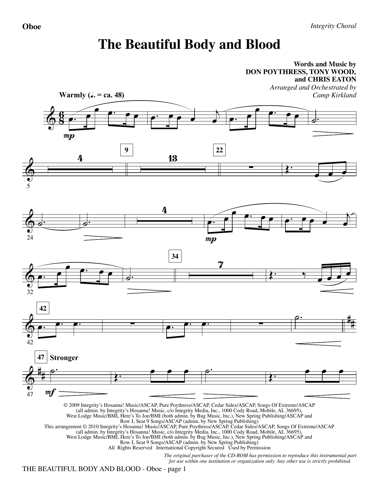 The Beautiful Body And Blood - Oboe sheet music