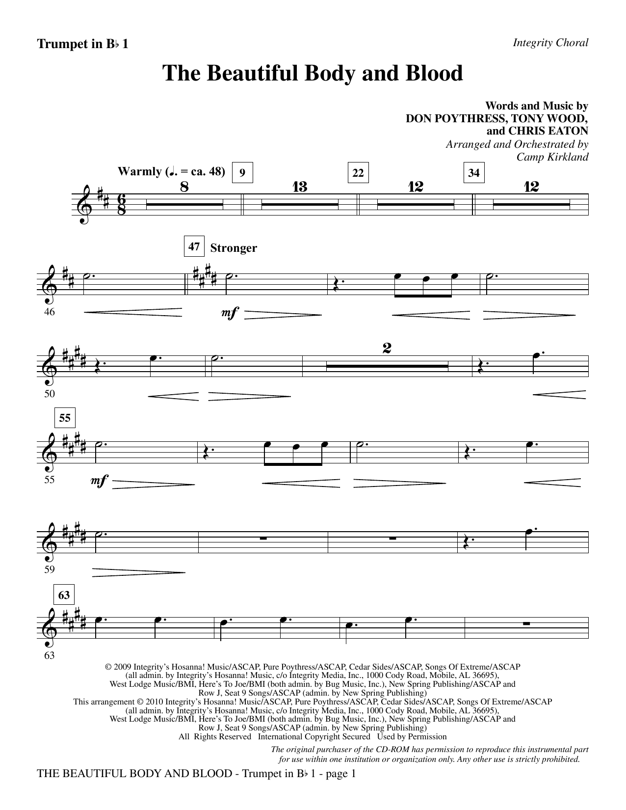The Beautiful Body And Blood - Trumpet 1 sheet music