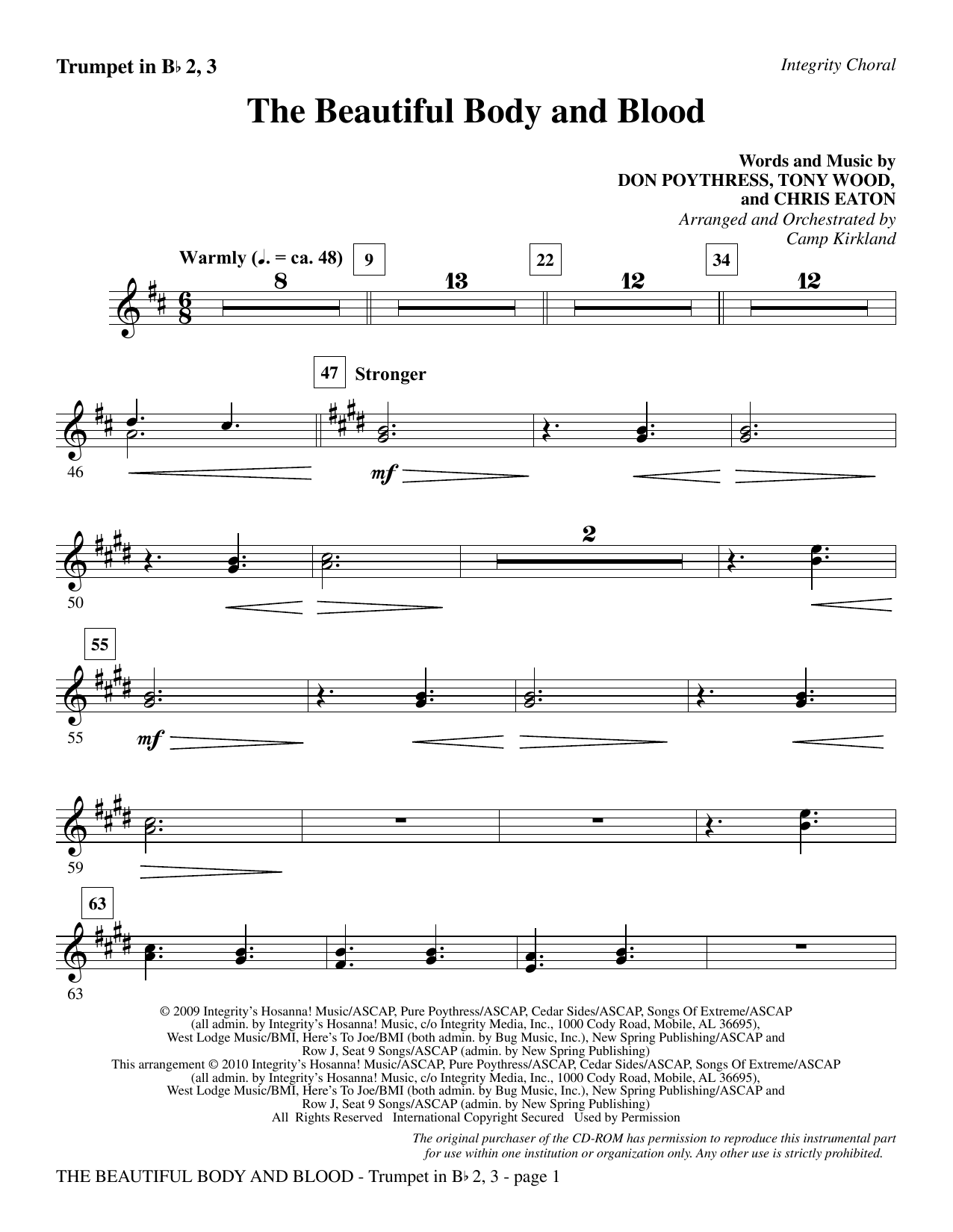 The Beautiful Body And Blood - Trumpet 2 & 3 sheet music
