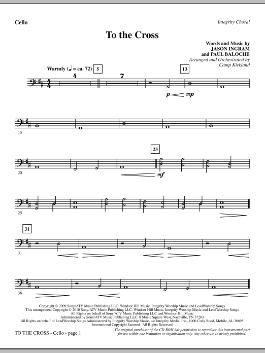 To The Cross - Cello sheet music