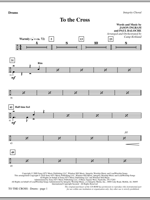 To The Cross - Drums sheet music