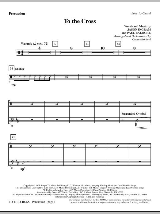 To The Cross - Percussion sheet music
