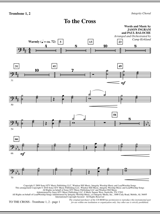 To The Cross - Trombone 1 & 2 sheet music