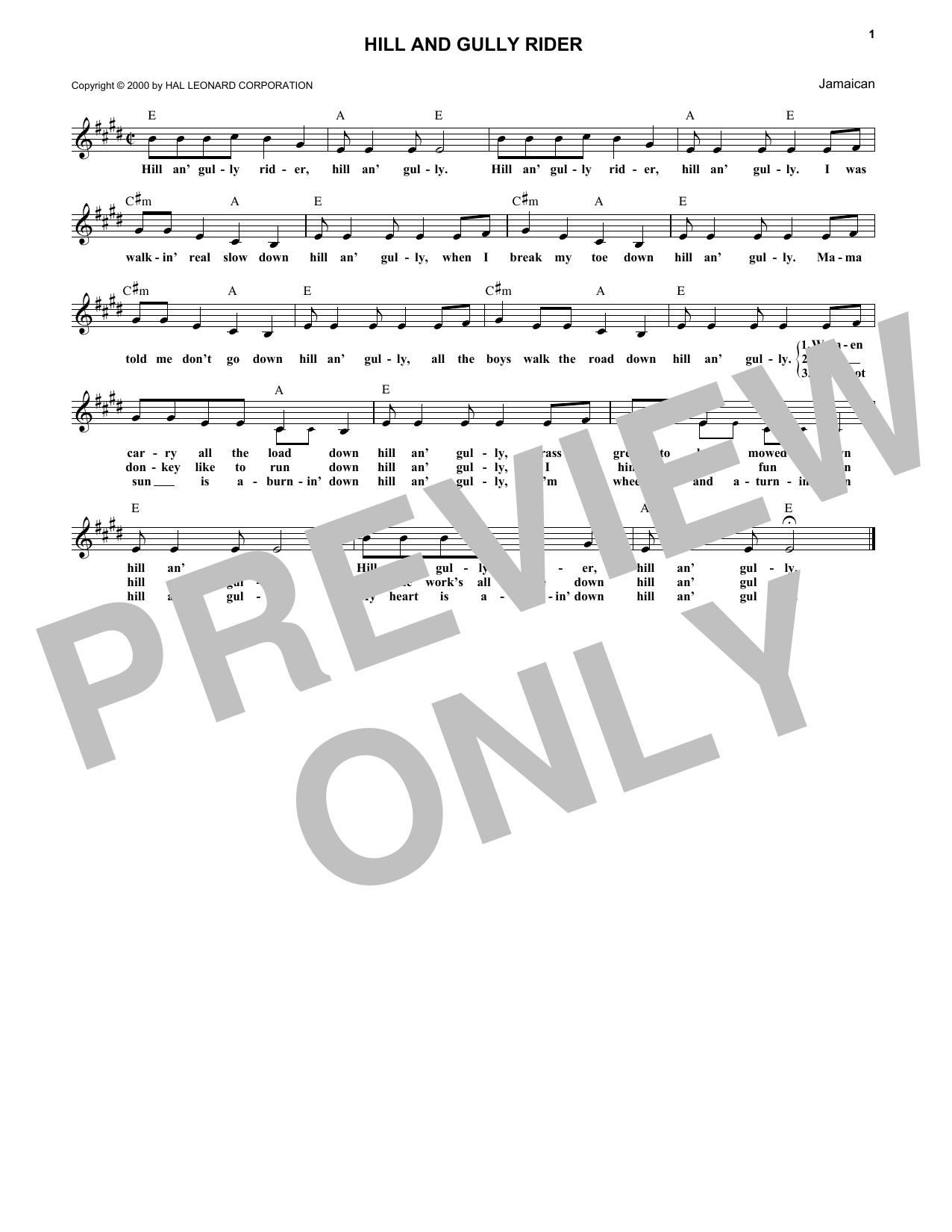 Hill And Gully Rider sheet music