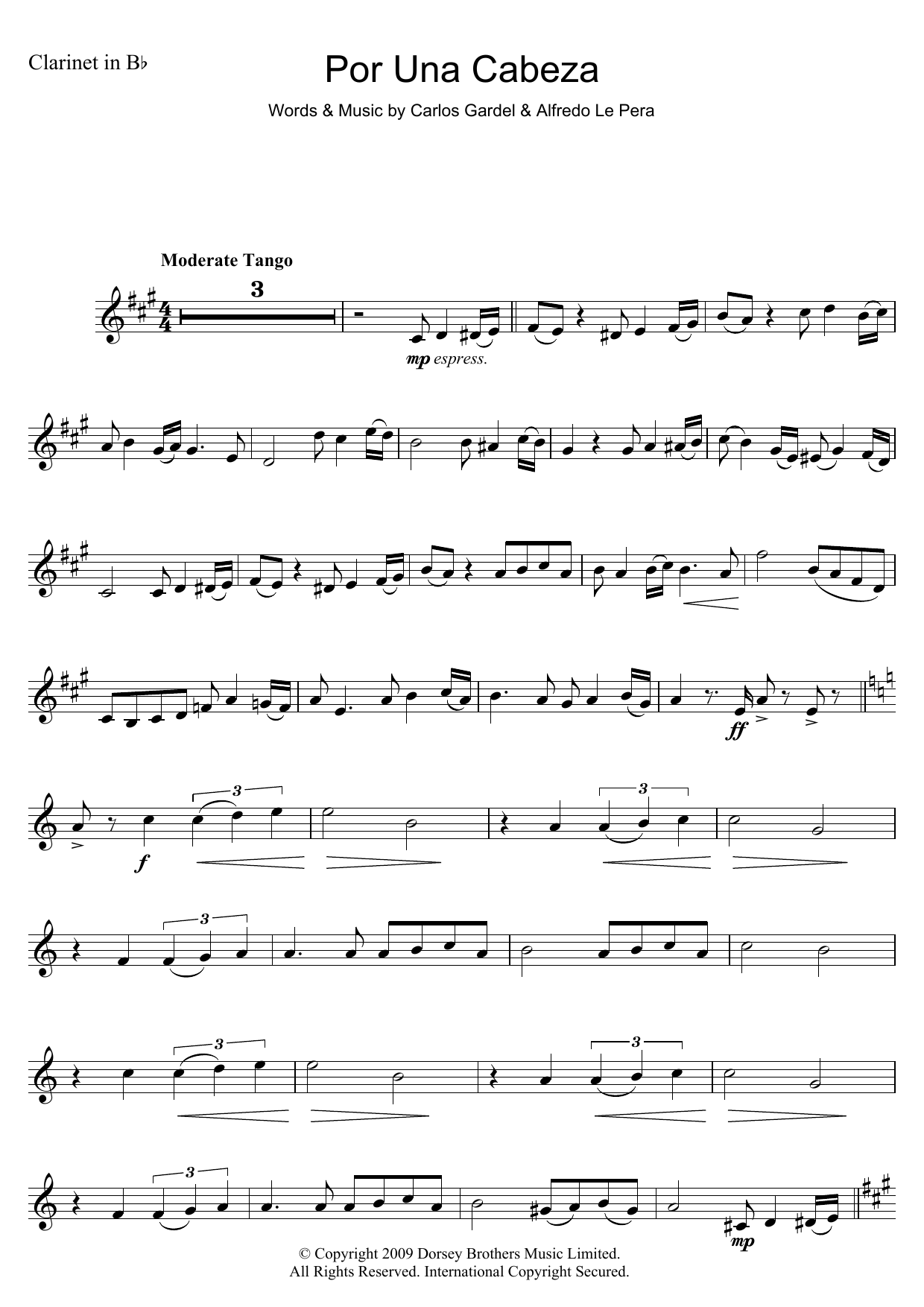 Por Una Cabeza sheet music