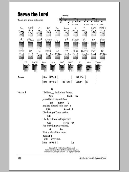 Serve The Lord sheet music